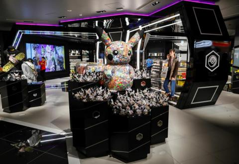 Pokémon Center Shibuya has a different interior design than Nintendo Tokyo. Items like the graffiti-style Pikachu plush on display will only be available in the store.