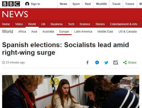 La portada de BBC sobre los resultados de las elecciones generales en España.