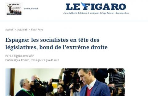 Portada de Le Figaro sobre las elecciones generales en España.