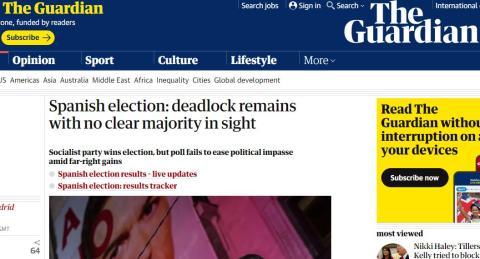 Portada de The Guardian sobre las elecciones en España.