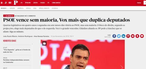 Portada de Público, en Portugal, sobre las elecciones en España.
