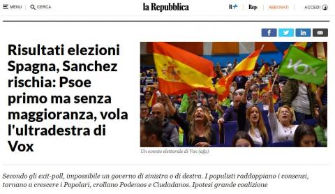 Portada 'la Repubblica' italiana sobre las elecciones en España.