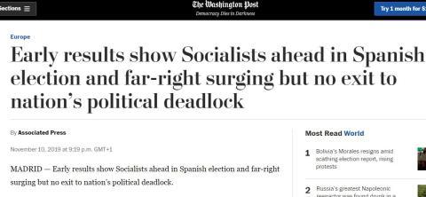 Portada de The Washington Post sobre los resultados de las elecciones en España.