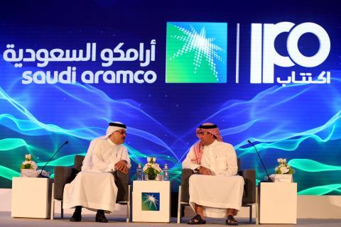 Los dos principales directivos de Saudi Aramco durante la presentación oficial de la salida a bolsa de la petrolera