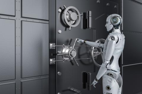 Robot en un banco