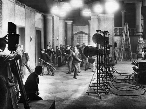 The filming of a German silent film in the 1920s.