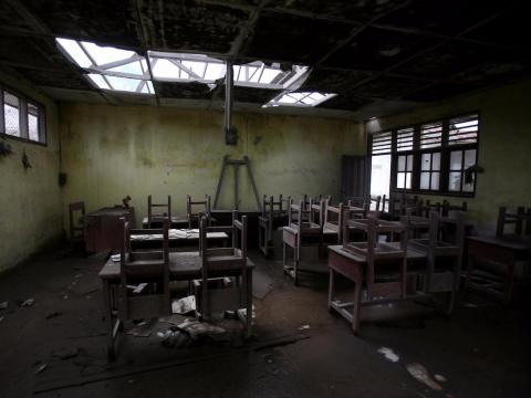 An abandoned classroom in Simacem, Indonesia.