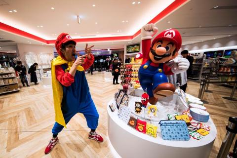 The store is filled with exclusive merchandise and art dedicated to iconic Nintendo characters, like Super Mario ...