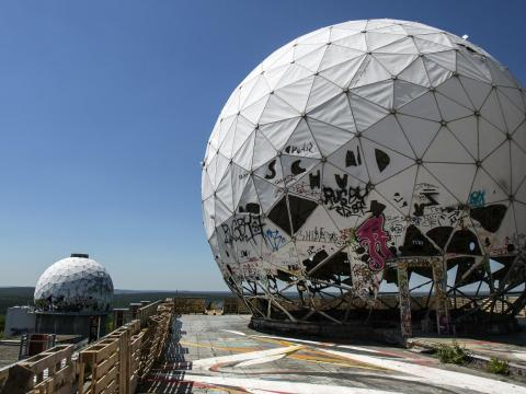 These strange dome structures sit atop a manmade hill in Berlin.