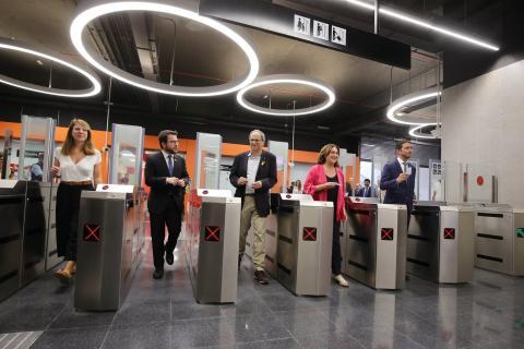 Torra, en un acto en el metro de Barcelona.