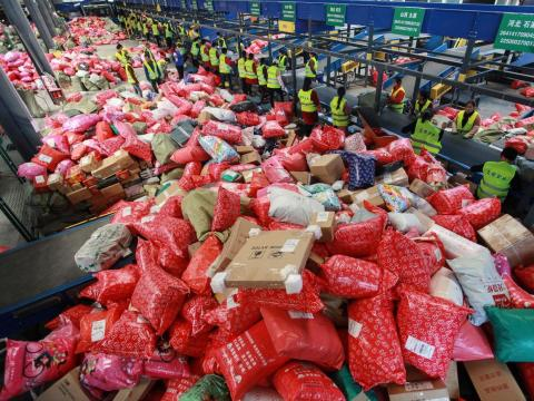 This Yangzhou delivery company appears to be overflowing with packages bought during the holiday buying spree.