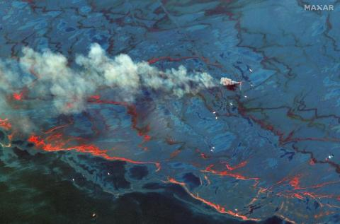The BP oil spill in the Gulf of Mexico on June 10, 2010.