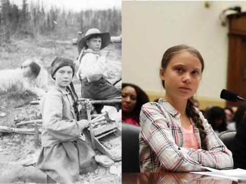 La activista climática sueca de 16 años Greta Thunberg y una foto de 1898 de una chica que se parece a ella.