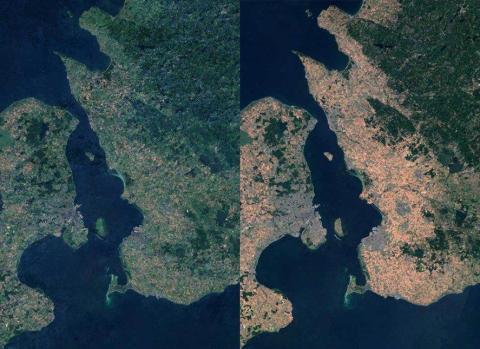 Las fotos satelitales de la provincia sueca de Skåne muestran la diferencia entre julio de 2017 (izquierda) y julio de 2018 (derecha).