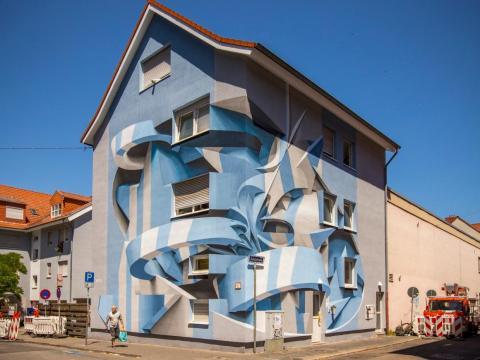 Uno de los murales de Peeta en Mannheim, Alemania.