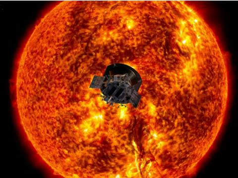 An artist's illustration of the Parker Solar Probe approaching the sun.