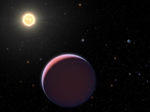Ilustración de un planeta y una estrella