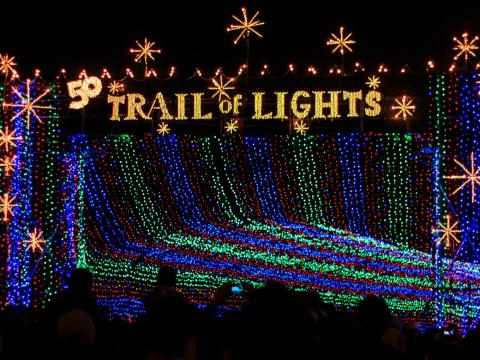 El Zilker Park Trail of Lights en Austin, Texas.