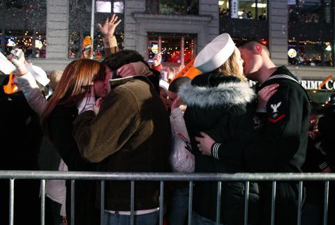Beso fin de año Nueva York