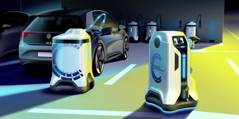 Cargador autónomo para coches eléctricos de Volkswagen.