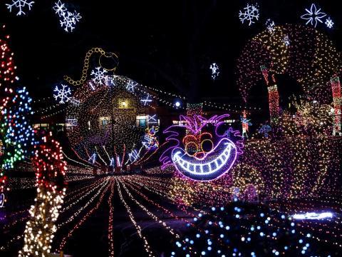 El Lincoln Park alberga la 23a exhibición anual de ZooLights con casi 2 millones de luces en el zoológico de Chicago, Illinois, EE. UU., a 1 de diciembre de 2017.
