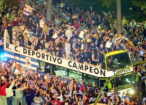 El deportivo de la Coruña celebrando el título de Liga