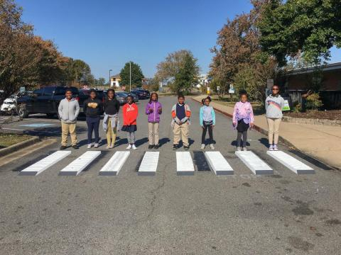 An elementary school class in Little Rock, Arkansas, painted three-dimensional crosswalks in front of their school to trick cars into slowing down.