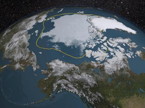 El mínimo de verano del hielo marino del Ártico en 2015 fue de 1.810.401,69 km cuadrados por debajo del promedio de 1981-2010, que se muestra como una línea de oro en esta representación de un análisis de la NASA.