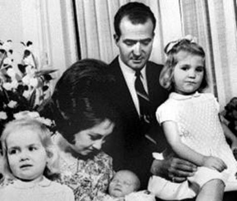 La familia real, durante el bautizo de Felipe VI.