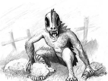 Una representación artística de un chupacabras.
