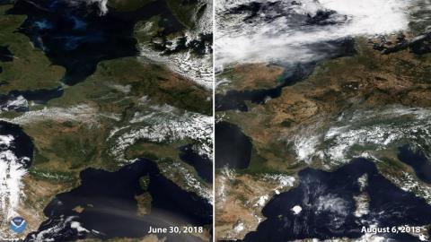 Dos imágenes capturadas por un satélite NOAA el 30 de junio y el 6 de agosto de 2018 muestran el dorado de Europa occidental después de varias semanas de clima cálido y seco.