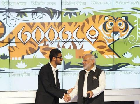 El CEO de Google, Sundar Pichai, reunido con el primer ministro indio, Narendra Modi.
