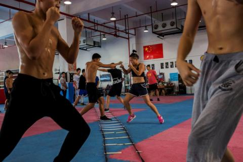Huang Wensi in action during her final training session in Ningbo, Zhejiang province, China, in September, ahead of the Asia Female Continental Super Flyweight Championship match in Taiwan. Huang is one of a small but growing
