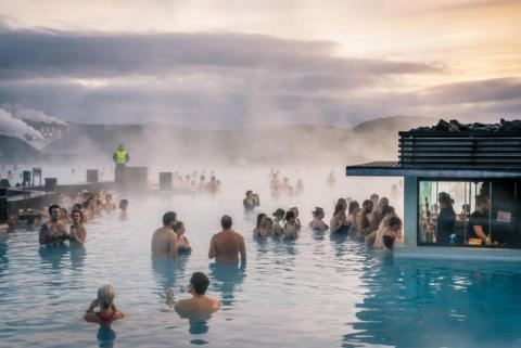 Crowds are common at Iceland's Blue Lagoon.