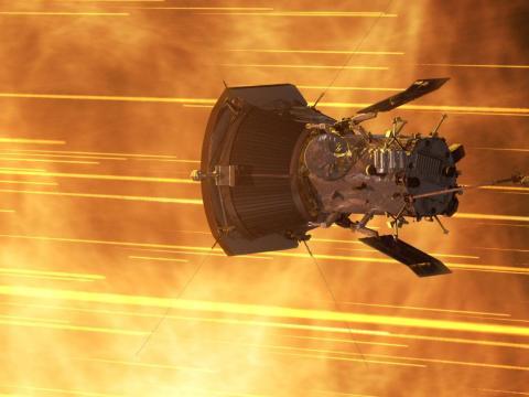 Una ilustración de la sonda Parker acercándose al Sol.