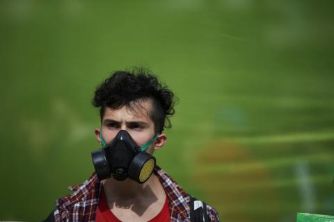 Un joven durante las protestas de Fridays For Future en Buenos Aires (Argentina)