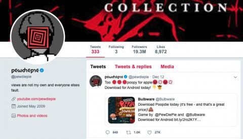 "Just a few hours later announcing his break, Kjellberg suddenly deleted his Twitter account, which had nearly 20 million followers. The action was preceded by a YouTube video in which he said Twitter had ""become such a cesspool of"