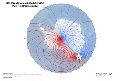 La última versión del Modelo Magnético Mundial: la estrella blanca indica la posición más actual del polo sur magnético.