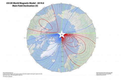La última versión del Modelo Magnético Mundial: la estrella blanca indica la posición actual del polo norte magnético.