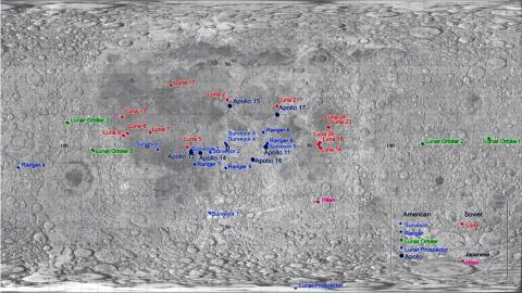Mapa superficie de la Luna