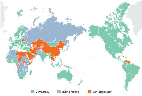 Mapa de tipos de gobierno en el mundo, según IDEA