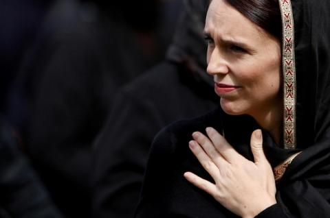 New Zealand's Prime Minister Jacinda Ardern leaves after the Friday prayers at Hagley Park outside Al-Noor mosque in Christchurch, New Zealand, on March 22. The mosque was one of two in Christchurch attacked by a lone suspected