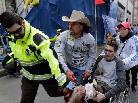 Una víctima del bombardeo del maratón de Boston.