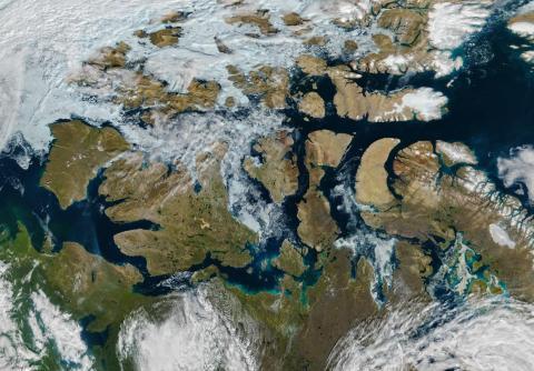 Una imagen satelital del 6 de agosto de 2016 del Pasaje del Noroeste Canadiense.