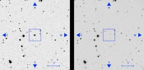 Un objeto visible en una placa antigua (izquierda, en el centro del cuadrado) ha desaparecido en una placa posterior (derecha).