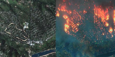 Paradise, California, antes y después del incendio Camp Fire