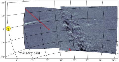 La sonda Parker capturó el rastro de las Gemínidas por primera vez (señalado por las flechas rojas).