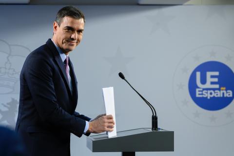 Pedro Sánchez, tras el Consejo Europeo de diciembre de 2019.