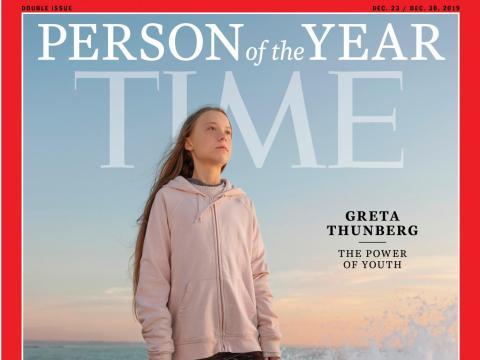 La portada de la revista Time con Greta Thunberg como la persona del año de 2019.