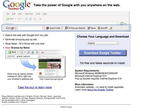 La famosa barra de búsqueda para navegadores de Google.